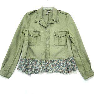FP Green Military Jacket Floral Peplum Hem Sz L